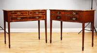 Pair Edwardian Mahogany Serpentine Side Tables (2 of 14)