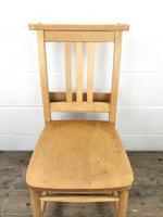 Set of Four Vintage Beech Chapel Chairs (11 of 16)