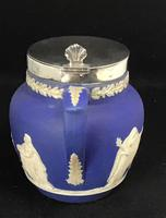 Victorian Blue and White With Silver Plated Lid Jug by Adams (6 of 6)