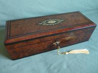 French Inlaid Amboyna Glove / Desk Box c.1870 (2 of 10)