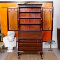 Secretaire Bureau Bookcase Astragal Glazed Mahogany Library Cabinet Edwardian (13 of 14)