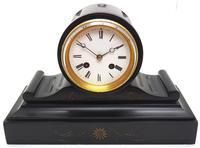 Drum Head Slate Mantel Clock – Gilt Marble 8-day Striking Mantle Clock