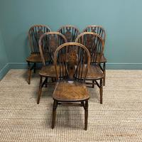 Six Country House Kitchen Elm Antique Windsor Chairs