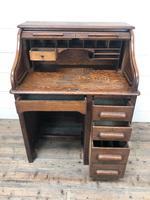 Antique Early 20th Century Oak Roll Top Desk (7 of 13)