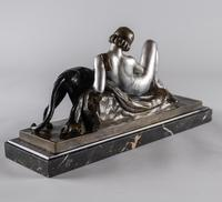 Stunning French Art Deco Bronze & Silvered Sculpture. Signed A.Ouline - Lady & Panther (8 of 11)