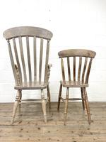 Set of Four Slat Back Antique Kitchen Chairs (10 of 10)