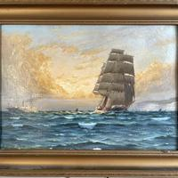Antique Marine Oil Seascape Painting of Tall Sailing Ship at Sunset by Harry Noyes Lewis (3 of 10)