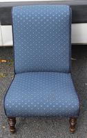 1940's Mahogany Framed Blue Spot Upholstered Nursing Chair