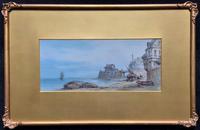 Original Mid 19th Century Antique Continental Harbour Seascape Watercolour Painting