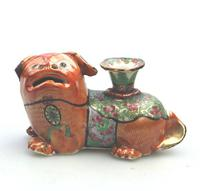 Chinese Canton Famille Rose Porcelain Buddhist Lion Candlestick 19th Century (3 of 9)