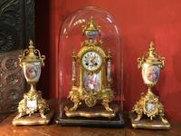 French Second Empire Napoleon Gilt Brass & Porcelain Clock Garniture c.1850