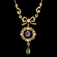 Antique Suffragette Floral Pendant Lavaliere Necklace 18ct Gold Circa 1910
