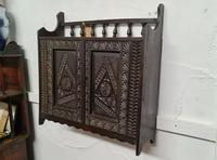 Arts & Crafts Tramp Art Antique Gothic Wall Cabinet