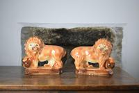Large 19th Century Staffordshire Pottery Lions (2 of 10)