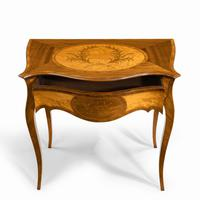 Victorian Inlaid Satinwood & Kingwood Table in the Style of Hepplewhite (6 of 10)