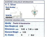 3.22ct Diamond & 2.10 ct Aquamarine, Pearl & 18ct Yellow Gold Pendant / Brooch - Antique Victorian (7 of 9)