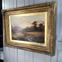 Antique Victorian Large Landscape Oil Painting in Ornate Gilt Gesso Frame Signed H Jones (8 of 10)