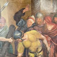 Antique French Religious Oil Painting Study of One of the Stations of the Cross (5 of 10)