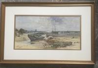 Joseph Hughes Clayton Watercolour - Beach Scene with Fishing  Vessels (2 of 2)