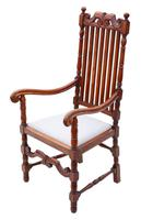 Oak Armchair Elbow Desk Chair C1915 Charles II Style (2 of 8)