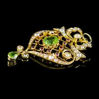 Antique Edwardian Suffragette Pendant Peridot Pearl Ruby 15ct Gold c. 1910 (6 of 6)