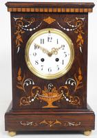 Incredible Rosewood Cased Mantel Clock with Multi Wood & Mother of Pearl Inlay 8–day Striking Clock (2 of 12)