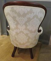 Victorian Walnut Armchair upholstered Cream Brocade (8 of 11)