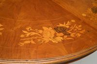 Antique Italian Marquetry Top Walnut Dining Table (7 of 10)