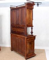 Large German Carved Walnut Bookcase Cabinet 19th Century (12 of 14)
