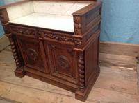 19th Century French Solid Oak Gothic Oak Revival Marble Top Washstand (6 of 9)