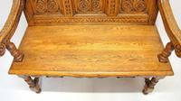 Good Quality  Reproduction  Carved Oak Settle or Hall Seat (7 of 17)