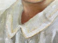"""20th Century Oil Painting Portrait Girl With Curly Hair """"The Happy Smile"""" (9 of 19)"""