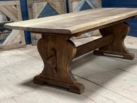 Larger French Bleached Oak Trestle Farmhouse Dining Table (18 of 21)