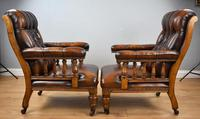 Pair of Victorian Hand Dyed Leather Library Chairs (11 of 13)