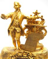 Superb Timepiece Mantle Clock -  Antique 8 Day French Poet Figural Ormolu Mantel Clock (9 of 11)