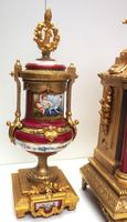 Incredible French Sevres Mantel Clock French Striking 8-day Garniture Clock Set (4 of 19)