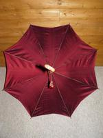 Vintage Hand Carved Handled Umbrella With Burgundy Canopy & Tassel (5 of 13)