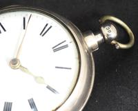 Great Antique Silver Pair Case Pocket Watch Fusee Verge Escapement Key Wind Enamel Dial Johnson London (8 of 10)