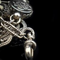 Antique Victorian Sterling Silver Albertina Albert Watch Chain Bracelet with Tassel and Drum Charm (3 of 14)