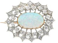 2.99 ct Opal and 0.96 ct Diamond, 9 ct Yellow Gold Brooch - Antique Victorian