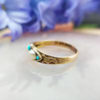 Antique Victorian 15ct Gold Turquoise & Pearl Ring (6 of 9)
