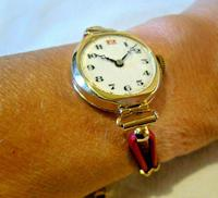 9ct Gold Ladies Wrist Watch 1934 Swiss 15 Jewel Porcelain Dial Red 12 FWO (3 of 12)