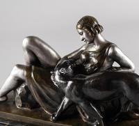 Stunning French Art Deco Bronze & Silvered Sculpture. Signed A.Ouline - Lady & Panther (9 of 11)