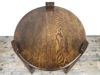 Early 20th Century Antique Oak Circular Side Table with shelf (3 of 9)