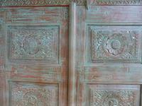 Handmade Indian Mango & Teak Large Painted Green 2 Door Storage Cupboard (7 of 12)