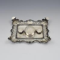 Antique Victorian Silver Double Inkstand With Taperstick & Stamp Box (15 of 15)