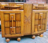 Art Deco Oak Wood Sideboard with Ball Feet (5 of 9)