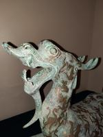Chinese Archaistic Silver / Gold Coloured Inlaid Bronze Mythical Qilin (2 of 15)