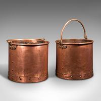 Pair of Antique Fireside Bins, English, Copper, Coal, Fire Bucket, Victorian