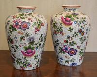 Pair of Victorian Staffordshire Chintz Vases